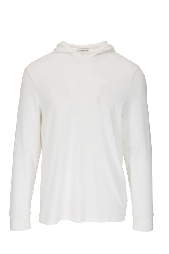 James Perse White Stretch Cotton Hoodie