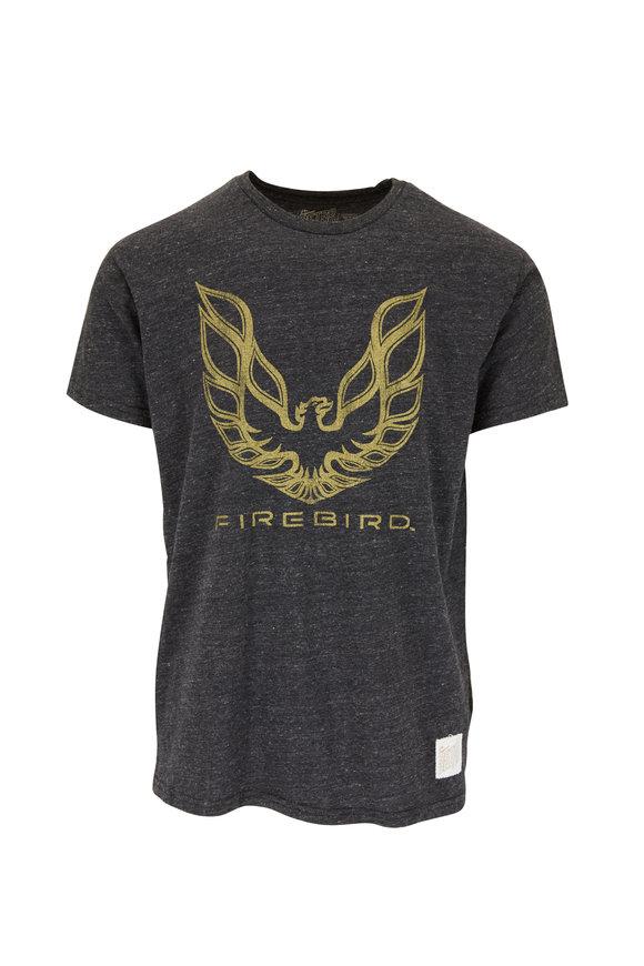 Retro Brand Gray Firebird Logo Graphic T-Shirt