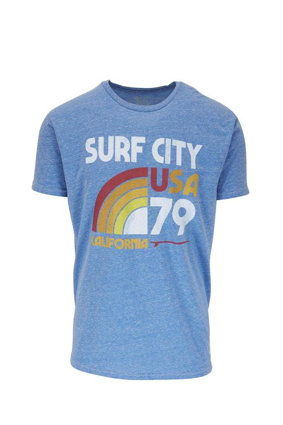 Retro Brand Light Blue Surf City Graphic T-Shirt