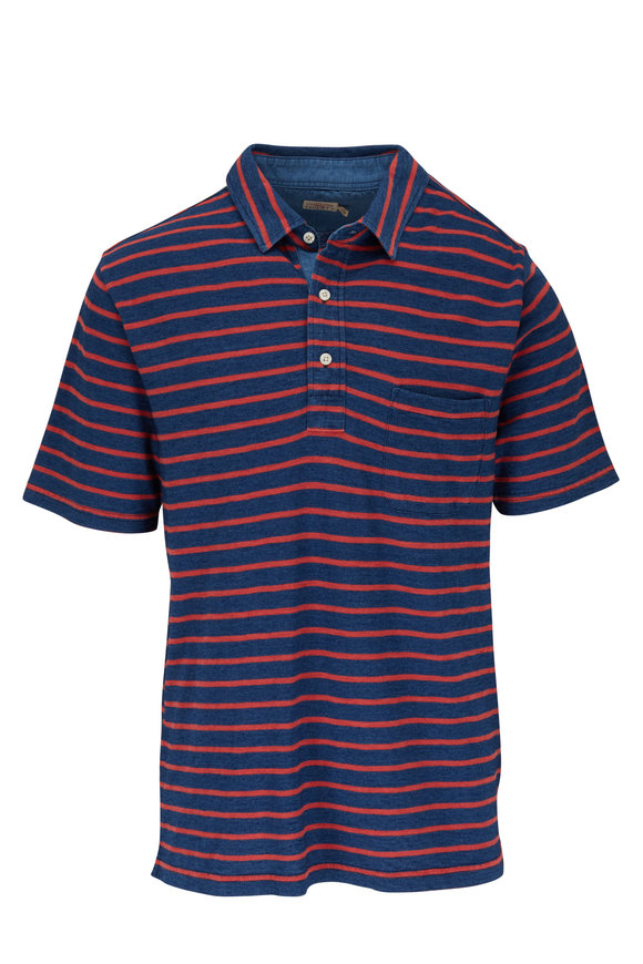 Faherty Brand Breton Navy Blue & Red Striped Polo