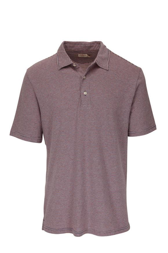 Faherty Brand Isle Navy & Pink Stripe Short Sleeve Polo