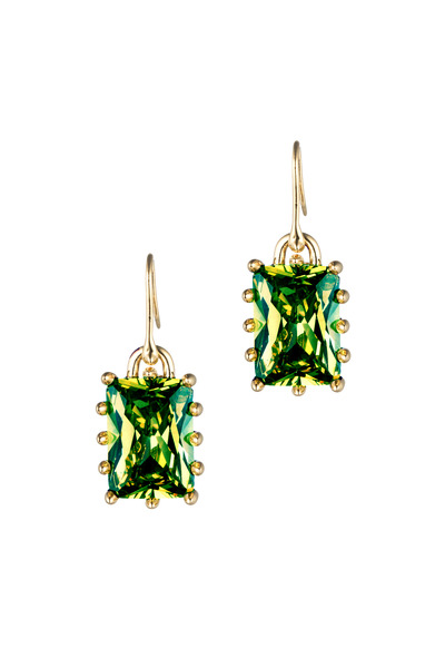 Eddie Borgo - Brass Plate Green Rectangle Estate Drop Earrings