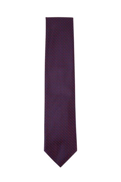 Brioni - Red & Navy Square Pattern Silk Necktie