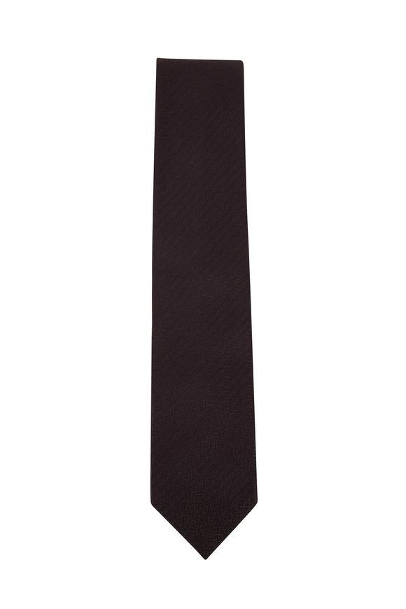 Brioni Black Tonal Herringbone Silk Necktie