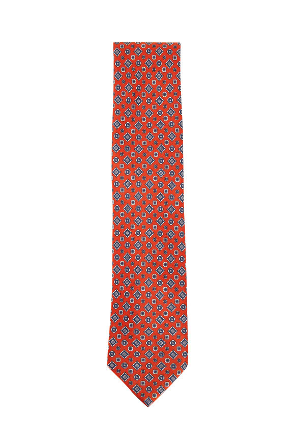 Brioni Orange & Brown Medallion Print Silk Necktie