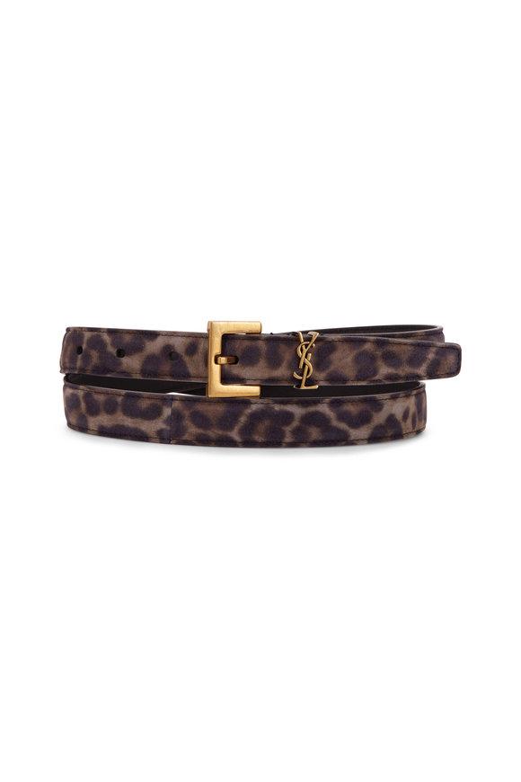 Saint Laurent Gray Suede Leopard Print Logo Belt