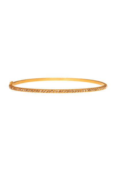 Yossi Harari - 18K Yellow Gold Pavé Cognac Diamond Lilah Bangle