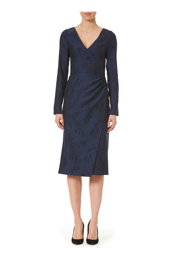 Carolina Herrera Navy Printed V-Neck Long Sleeve Dress