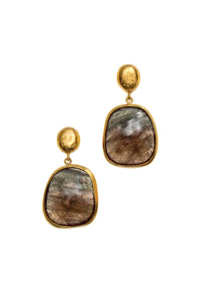 Yossi Harari - Roxanne Yellow Gold Brown Sapphire Slice Earrings