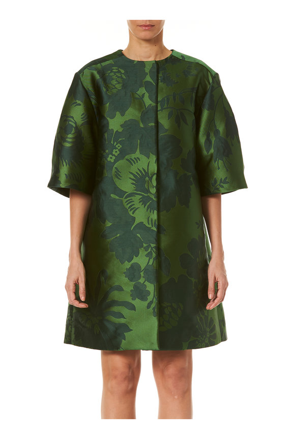 Carolina Herrera Green Multi Crewneck Wide Sleeve Coat