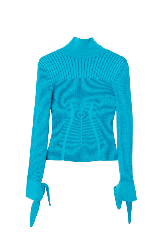 Carolina Herrera Sky Blue Ribbed Knit Turtleneck