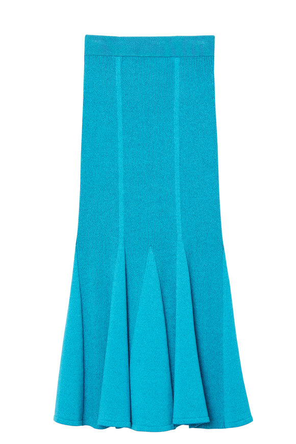 Carolina Herrera Sky Blue Ribbed Knit Flare Skirt