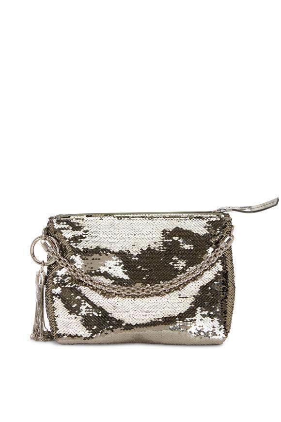 Jimmy Choo Callie Dark Silver Micro Sequin Evening Bag
