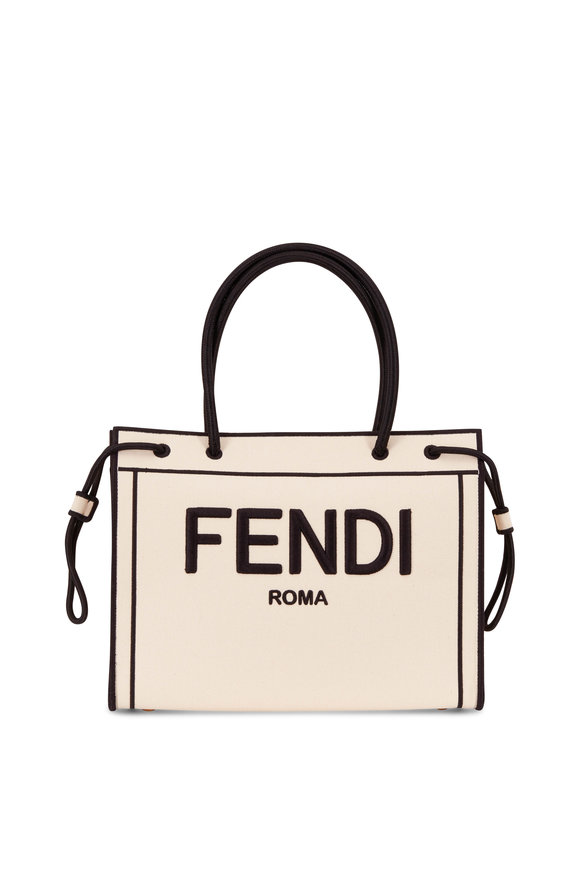 Fendi Beige & Black Canvas Fendi Roma Shopper