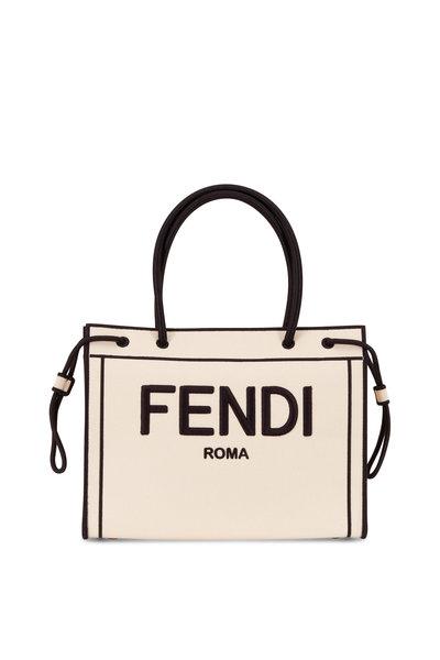 Fendi - Beige & Black Canvas Fendi Roma Shopper