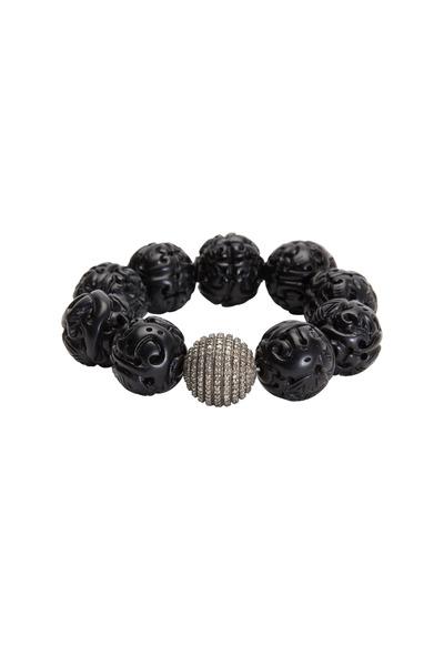 Bochic - Carved Black Jet Diamond Bead Bracelet