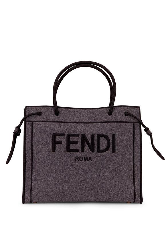 Fendi Gray & Black Flannel Logo Shopper Tote