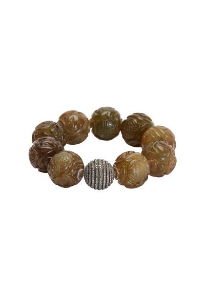 Bochic - Carved Green Jade Diamond Bead Bracelet
