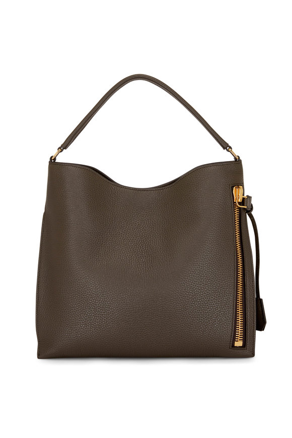 Tom Ford Alix Derby Green Grained Leather Hobo Bag