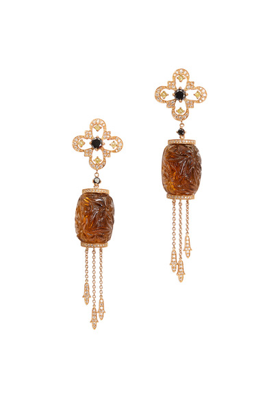 Bochic - White Gold Amber Diamond Dangle Earrings