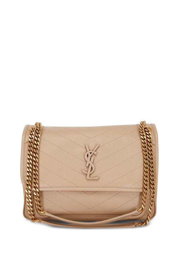 Saint Laurent Niki Monogram Beige Leather Medium Chain Bag