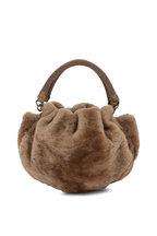 Brunello Cucinelli - Taupe Shearling Monili Handle Small Hobo Bag