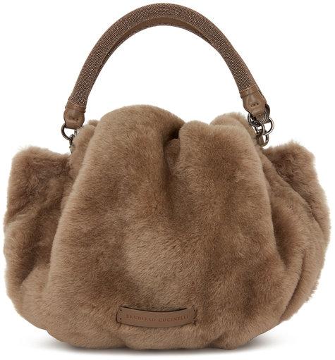 Brunello Cucinelli Taupe Shearling Monili Handle Small Hobo Bag