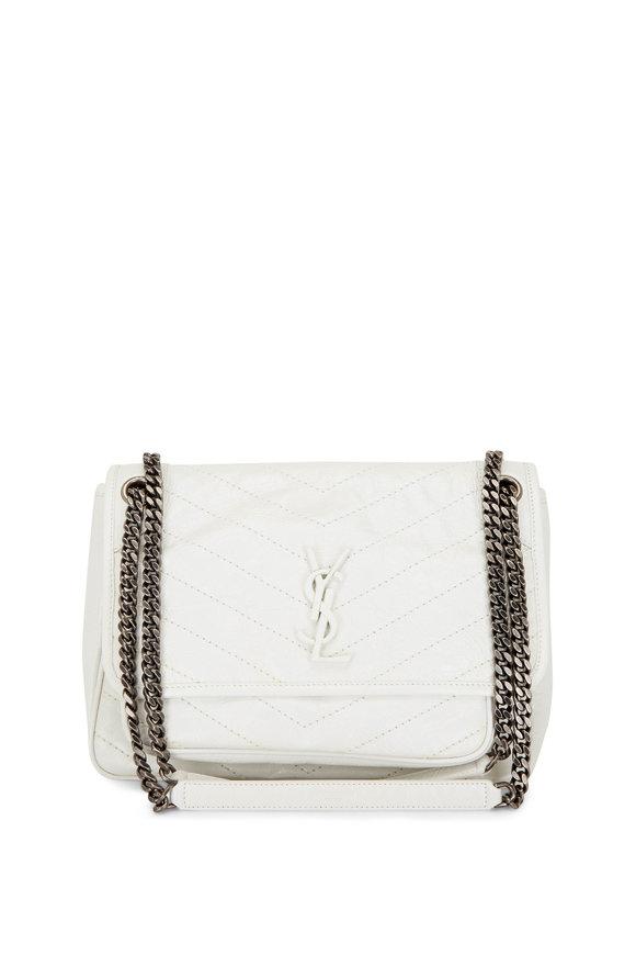 Saint Laurent Pearl White Vintage Leather Medium Chain Bag