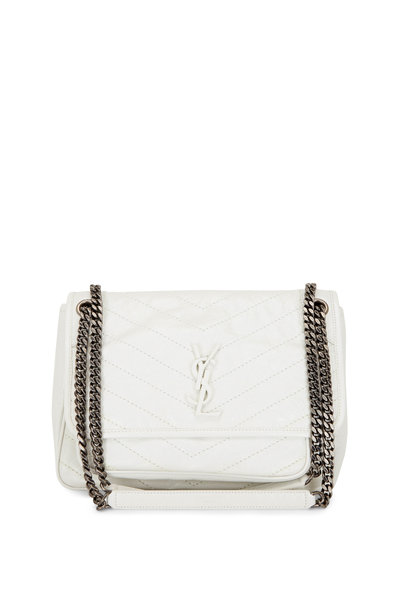 Saint Laurent - Pearl White Vintage Leather Medium Chain Bag