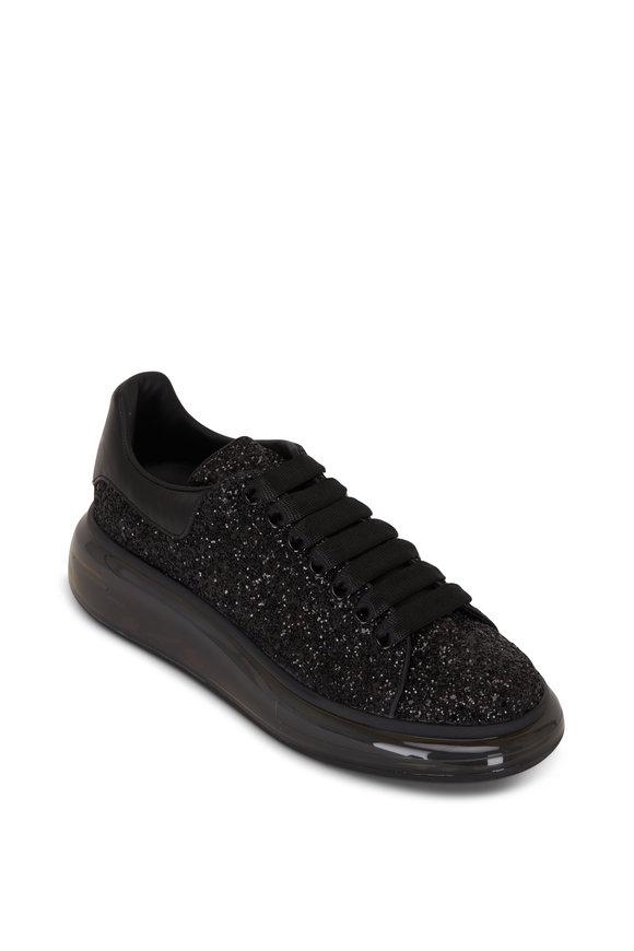 Alexander McQueen Black Glitter Transparent Exaggerated Sole Sneaker