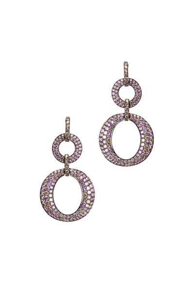 Bochic - Gold Pink Sapphire Brown Diamond Dangle Earrings
