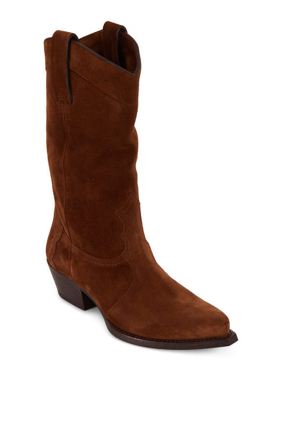 Saint Laurent Houston Land  Suede Western Boot, 40mm