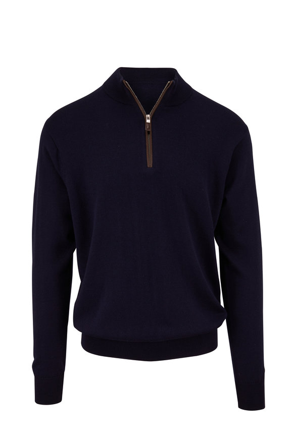Peter Millar Navy Leather Trim Quarter-Zip Pullover