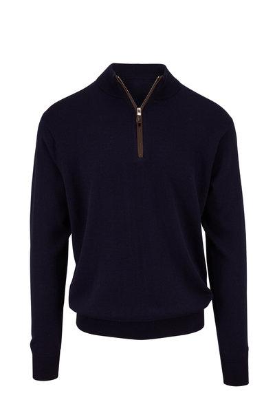 Peter Millar - Navy Leather Trim Quarter-Zip Pullover