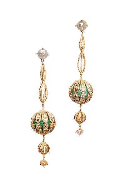 Bochic - Gold Green Jade Diamond Dangle Genie Earrings