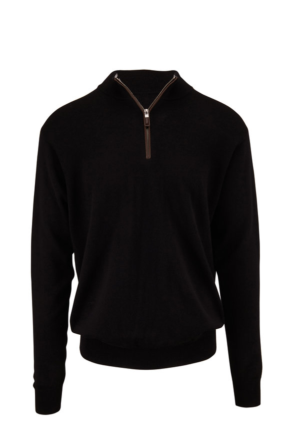 Peter Millar Black Leather Trim Quarter-Zip Pullover