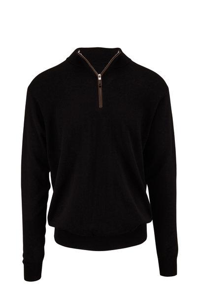 Peter Millar - Black Leather Trim Quarter-Zip Pullover