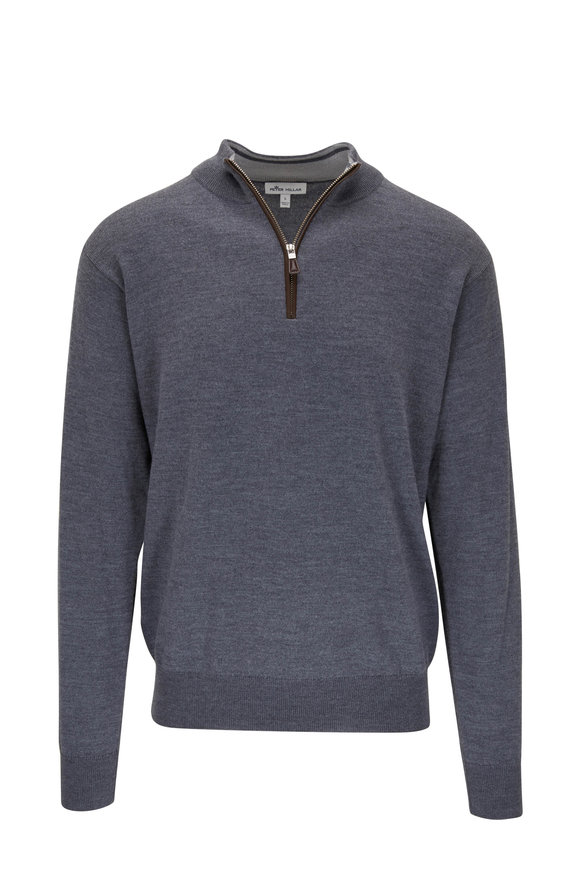 Peter Millar Charcoal Gray Leather Trim Quarter-Zip Pullover