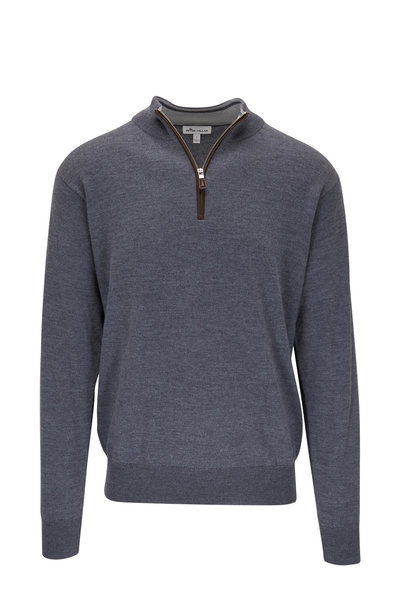 Peter Millar - Charcoal Gray Leather Trim Quarter-Zip Pullover
