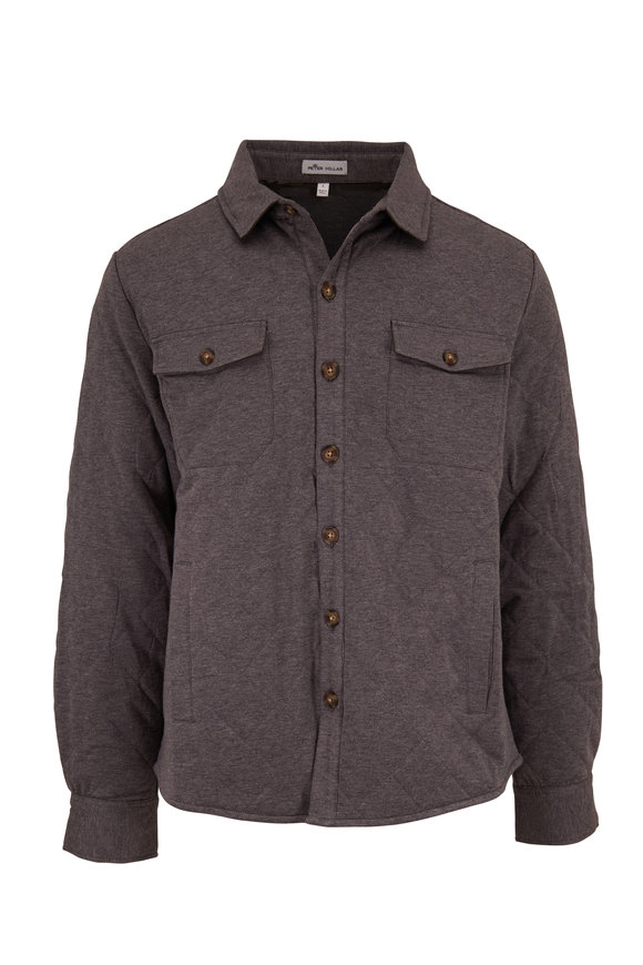 Peter Millar Gray Cotton & Cashmere Button Front Overshirt