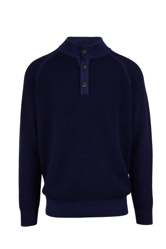 Peter Millar Dark Blue Waffle Knit Quarter-Button Pullover