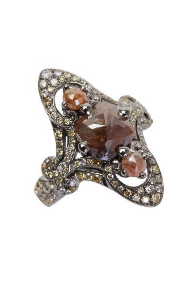 Bochic - White Gold Fancy Champagne Diamond Ring