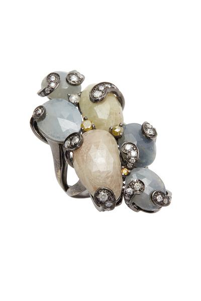 Bochic - White Gold Multi Sapphire Fancy Diamond Ring