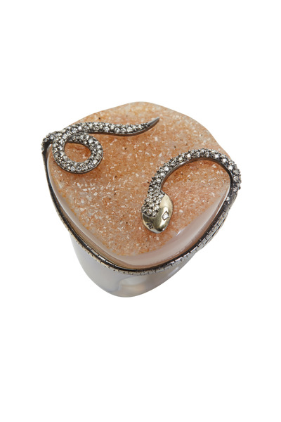 Bochic - Yellow Gold Druzy Agate Diamond Snake Ring