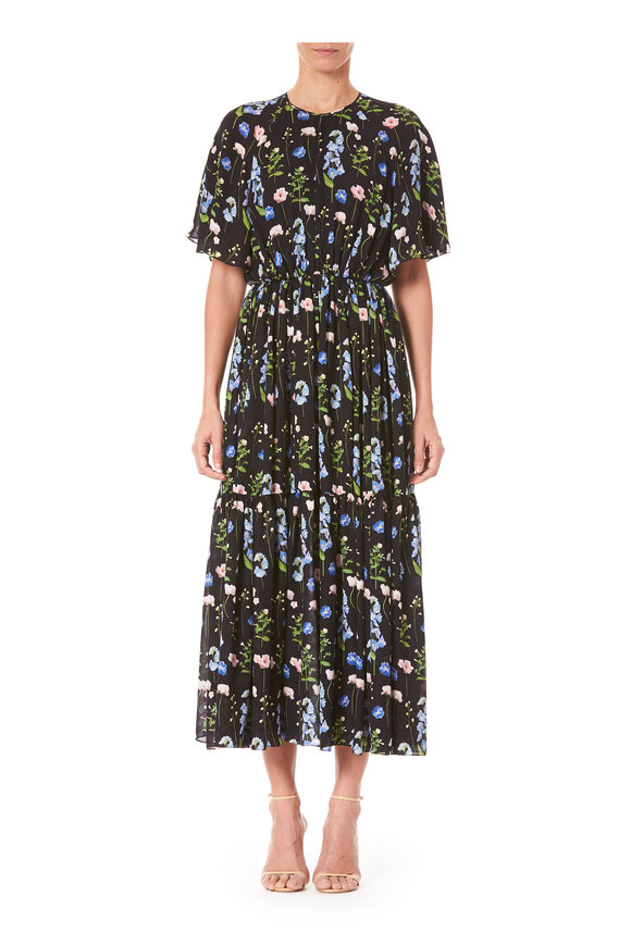 Carolina Herrera Black Multi Drop Shoulder Short Sleeve Dress