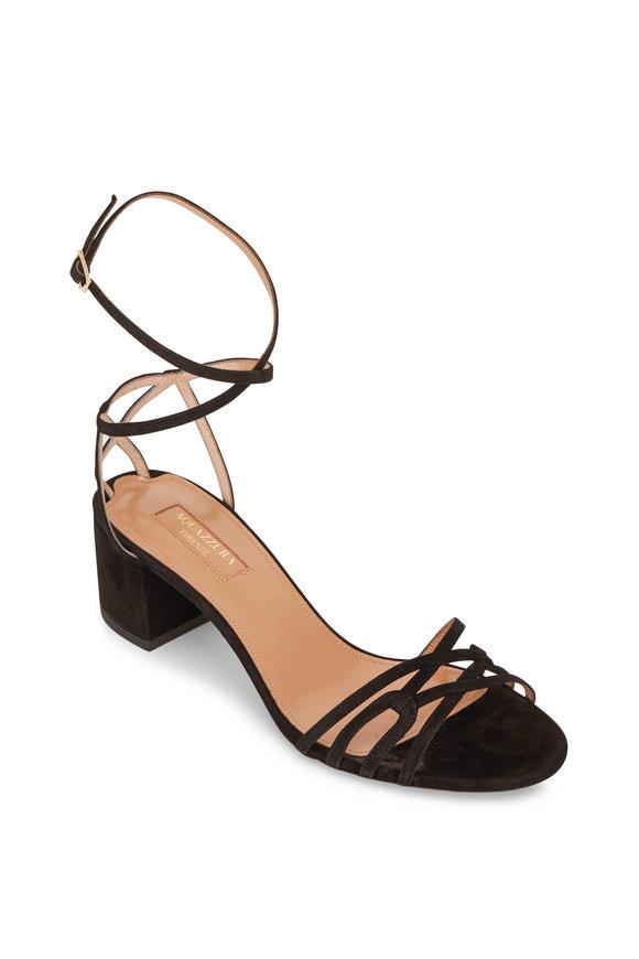 Aquazzura First Kiss Black Suede Ankle Strap Sandal, 50mm
