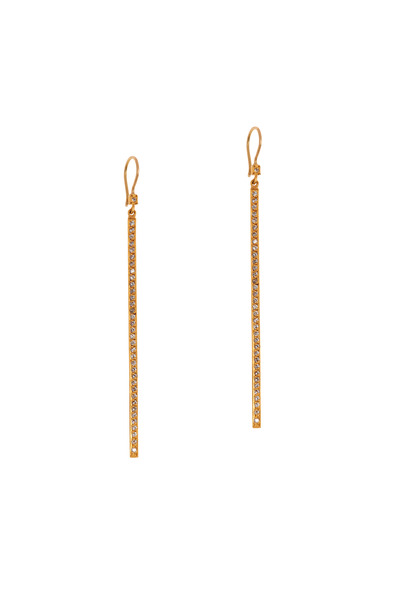 Yossi Harari - Yellow Gold Pavé-Set Diamond Stick Earrings