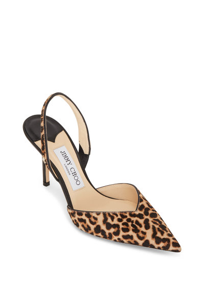 Jimmy Choo - Thandi Leopard Print Calf Hair Slingback, 85mm