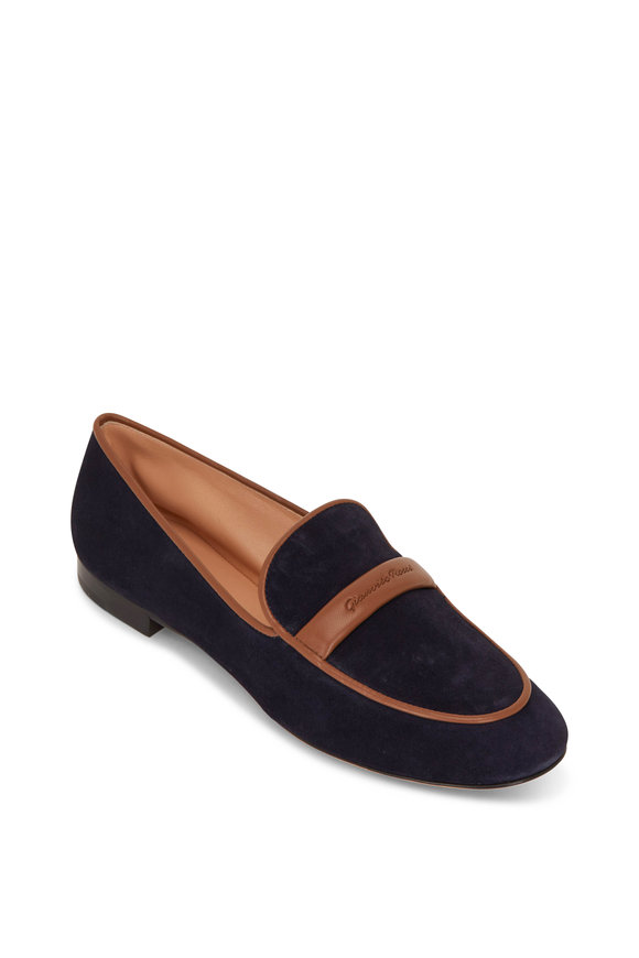 Gianvito Rossi Flexible Navy Suede Loafer