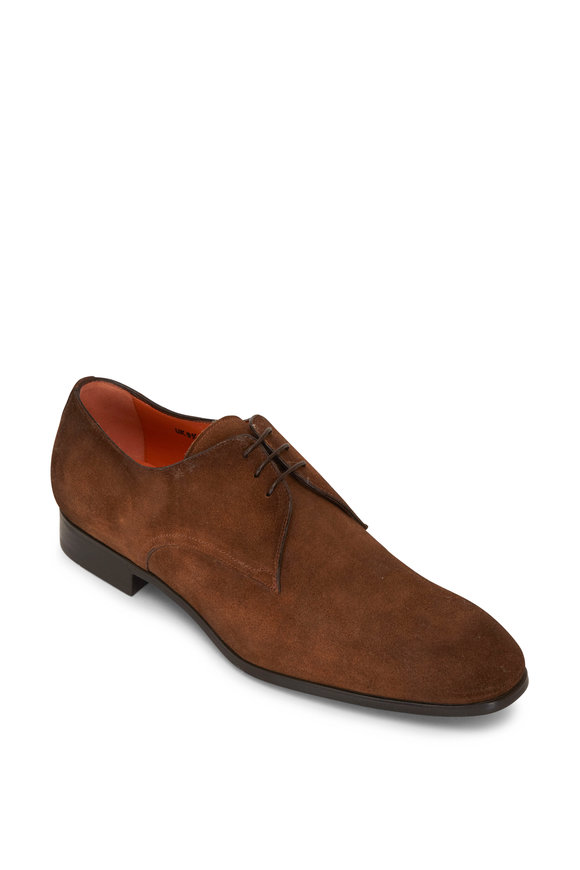 Santoni Pacci Dark Brown Suede Lace Up Dress Shoe